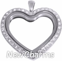 SS91 Stainless Steel Silver Big CZ Heart Floating Locket