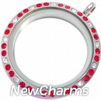 TF11 TWIST Stainless Steel Red & White CZ Medium Round Floating Locket