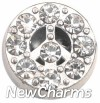 X1009 Bling Peace Sign Floating Locket Charm (clearance)