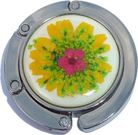 FLOWERS FUSCHIA AND YELLOW ON WHITE PURSE HANGER