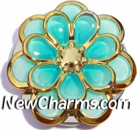 PH8153 Raised Aqua Flower Foldable Purse Hanger