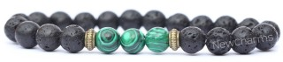 RB002 Lava Rock Bracelet with Green
