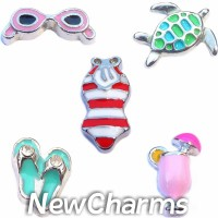 CSL102 Beachy Keen Ocean Vacation Charm Set for Floating Lockets