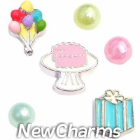 CSL105 Birthday Bash Charm Set for Floating Lockets