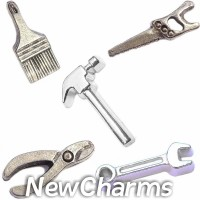 CSL109 Fixer Upper Tools and Hardware Charm Set for Floating Lockets
