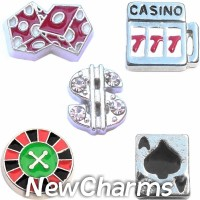 CSL111 Gettin Lucky Casino and Cards Charm Set for Floating Lockets