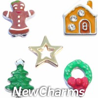 CSL121 Merry Magic Christmas Holiday Charm Set for Floating Lockets