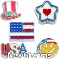 CSL126 Patriotic America Charm Set for Floating Lockets