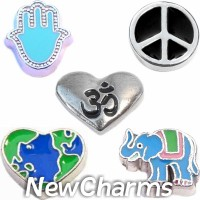 CSL127 Peace and Love Charm Set for Floating Lockets