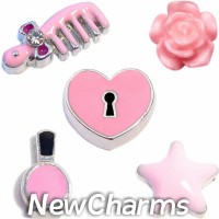 CSL129 Pretty in Pink Charm Set for Floating Lockets