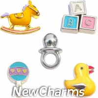 CSL133 Rock a Bye Baby Nursery Charm Set for Floating Lockets