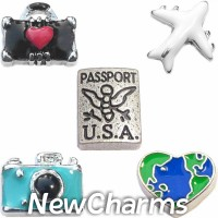 CSL139 Travel Here There Everywhere Charm Set for Floating Lockets
