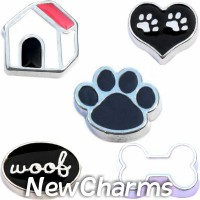 CSL140 Woof Woof Puppy Dog Charm Set for Floating Lockets