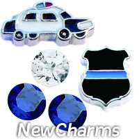 CSL142 Blue Lives Matter Police Charm Set for Floating Lockets