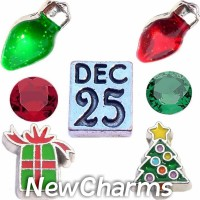 CSL145 December 25th Christmas Day Charm Set for Floating Lockets