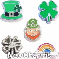 CSL146 Saint Patricks Luck of the Irish Charm Set for Floating Lockets