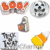 CSL147 Trick or Treat Halloween Charm Set for Floating Lockets