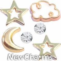 CSL151 Goldtone Nights Celestial Charm Set for Floating Lockets