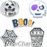 CSL154 Black and Orange Scary Halloween Charm Set for Floating Lockets