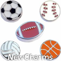 CSL156 Lets Play Sports Ball Charm Set for Floating Lockets