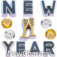 CSL157 Happy New Year Celebration Charm Set for Floating Lockets