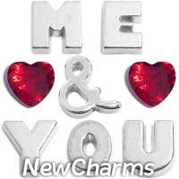 CSL159 Me and You Love and Hearts Charm Set for Floating Lockets