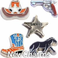 CSL161 Howdy Sheriff Country Cowboy Charm Set for Floating Lockets