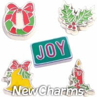 CSL165 Holiday Joy Christmas Season Charm Set for Floating Lockets