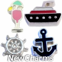 CSL166 Cruise Ship Sailing Boating Charm Set for Floating Lockets