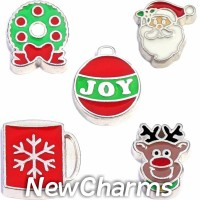 CSL167 Holly Jolly Holiday Christmas Charm Set for Floating Lockets