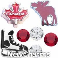CSL168 Oh Canada Moose and Hockey Charm Set for Floating Lockets
