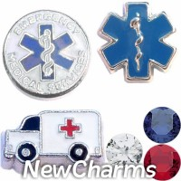 CSL173 Emergency Medical Services EMS Charm Set for Floating Lockets
