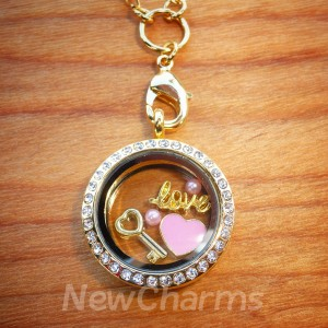 Love U To The Moon Locket Set with Dangle