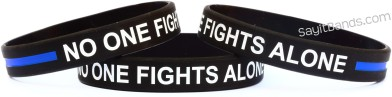 No One Fights Alone Thin Blue Line Wristband