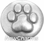 GS313 Paw Print Silver Snap Charm