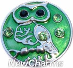 GS334 Wise Owl Green Snap Charm