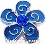 GS340 Whimsical Blue Flower Snap Charm