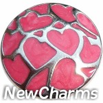 GS639 Pink Heart Collage Snap Charm