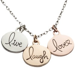 N08 Live Love Laugh Stamped Necklace