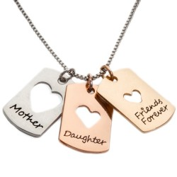N10 Mother Daughter Friends Forever Stamped Necklace