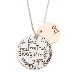 N14 Be Kind Happy Thankful Stamped Necklace