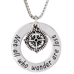 N153 Not All Who Wonder Are Lost Stamped Necklace