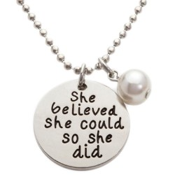 N154 She Believed She Could So She Did Stamped Necklace