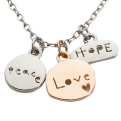 N16 Peace Love Hope Stamped Necklace