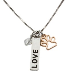 N17 Pet Love Paw Stamped Necklace