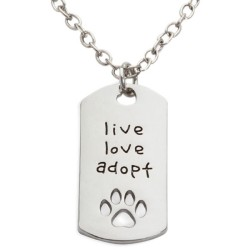 N33 Live Love Adopt Stamped Necklace