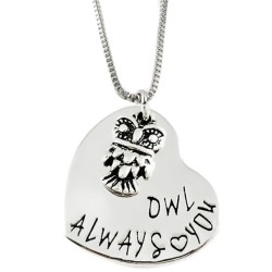 N38 Owl Always Love You Stamped Necklace