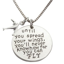 N42 Spread Your Wings Stamped Necklace