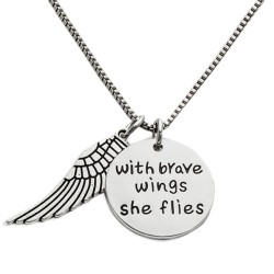 N43 With Brave Wings Stamped Necklace