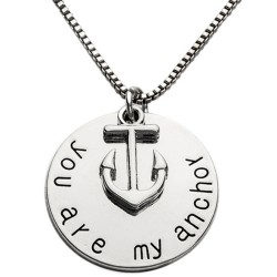 N44 You Are My Anchor Stamped Necklace